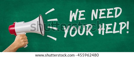 A man holding a megaphone - We need your help - stock photo