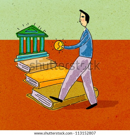 A man holding money, walking along a path of books towards a bank