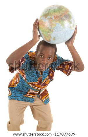 A man holding on to a globe on top of his head with a funny expression on his face.