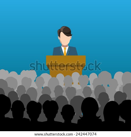 A man holds a lecture to an audience flat illustration - stock photo