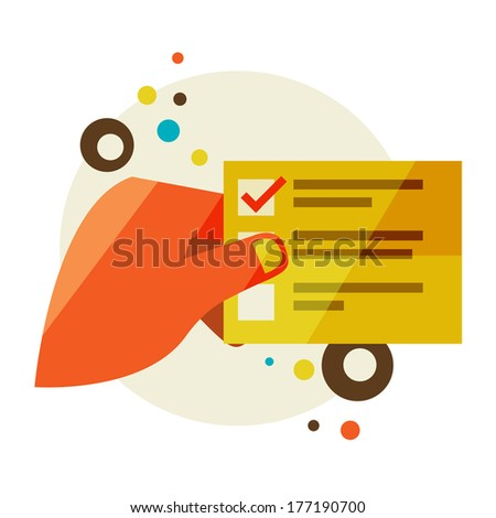 A man holds a list. Flat design modern illustration stylish colors of hand holding a business card and hand holding a coin - stock photo