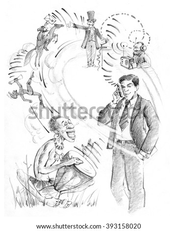 A man in a business suit with telephone. The history of communications.Drum, messenger, telegraph, radio, courier. Drawing by hand. - stock photo