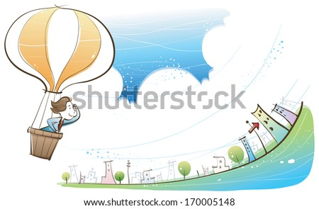 A man in a hot air balloon heading towards a line of buildings. - stock photo