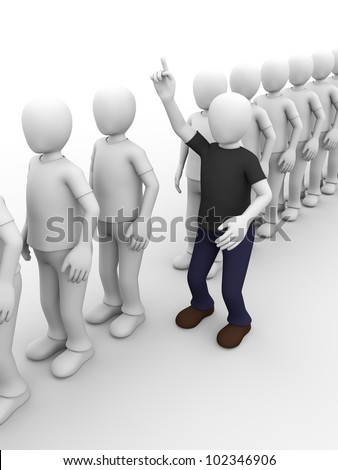 a man in a queue is raising his hand to ask something.