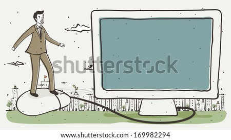 A man in a suit balancing on the mouse of his computer. - stock photo