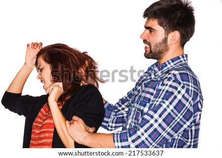 A man is abusing a woman