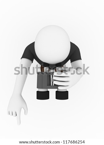 A man is looking through a binocular. Top view