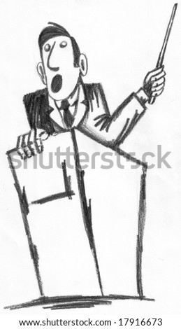 A man is making a speech - Hand Drawn illustration