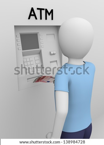 A man is picking a banknote from the ATM - stock photo