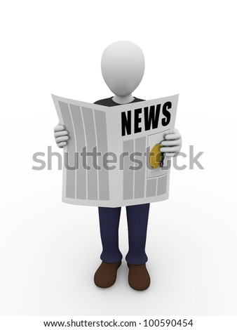 A man is reading a newspaper. Communication concept - stock photo