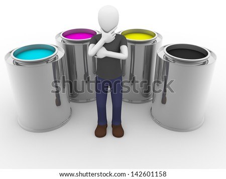 A man is thinking surrounded of cmyk tints - stock photo
