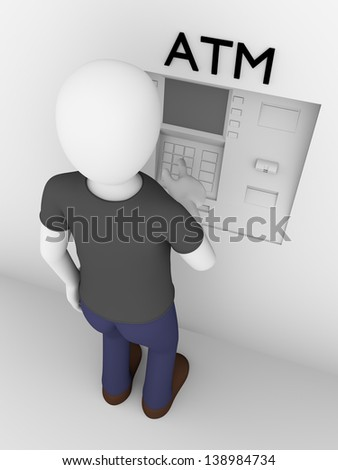 A man is touching the buttons of an ATM to get cash - stock photo