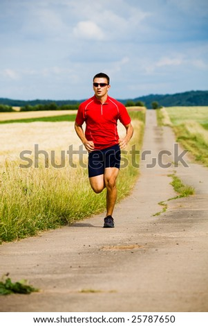 A man jogging cross country