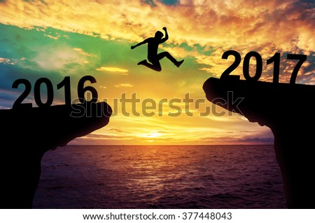 A man jump between 2015 and 2016 years.