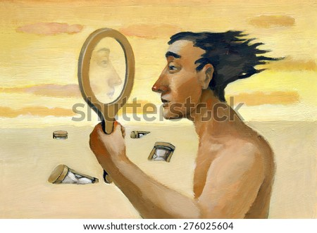 A man looking through an empty mirror and sees the landscape around him - stock photo