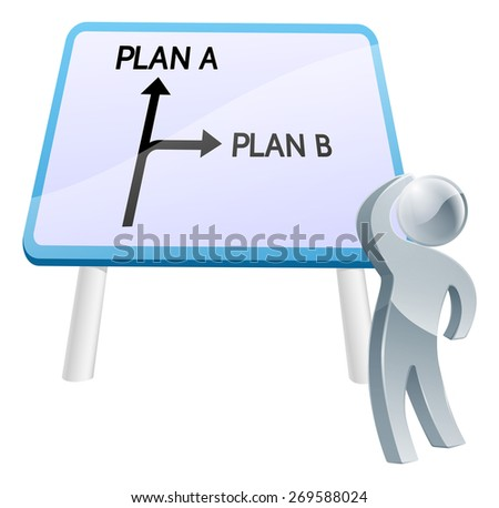 A man looking up at a direction road sign with the words plan a and plan b on it - stock photo