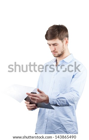 A man looks document or note