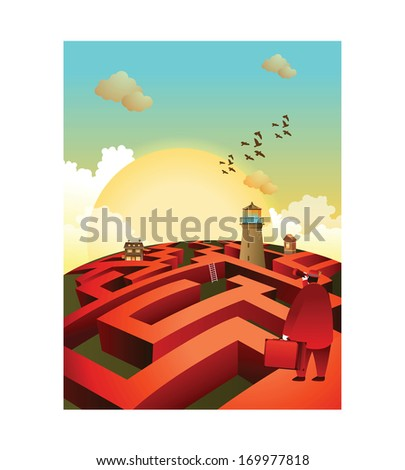 A man looks over a large maze with a looking glass. - stock photo