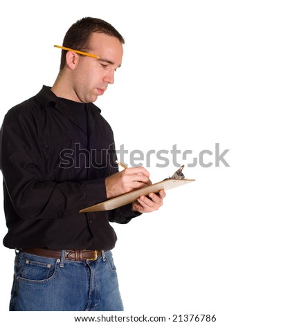 A man making a list on a clipboard, isolated against a white background