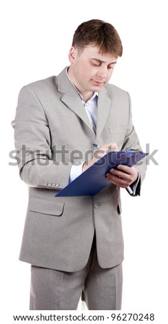 A man making notes on a white background
