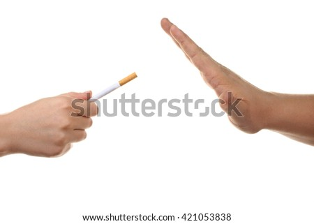 a man offers a cigarette with the orange filters and someone refuses on a white isolated background and someone refuses