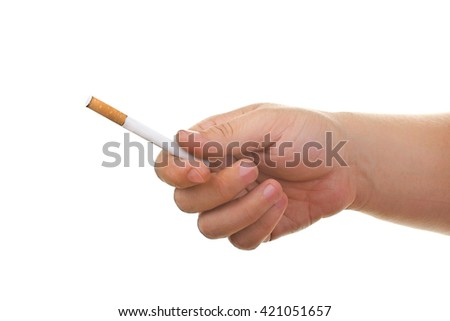a man offers a cigarette with the orange filters isolated on a white background