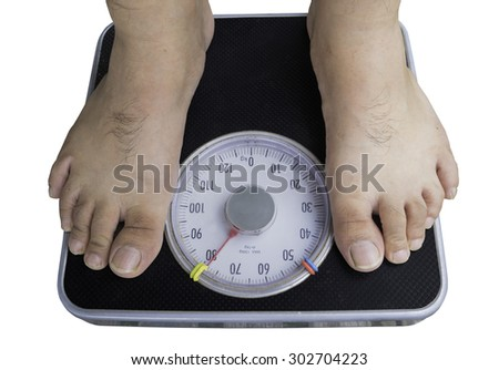 a man on a weighing scale, on a white background.