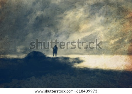 A man on the top of the rock in the sea beach textured abstract paint background, digital illustration