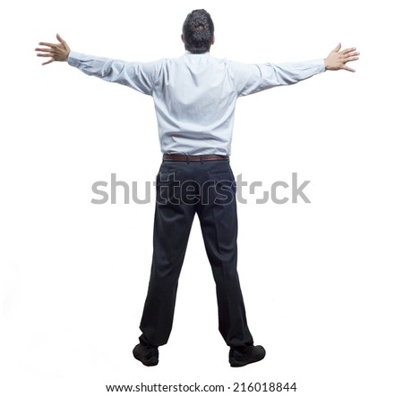 A man opens his arms triumphantly on a white background - stock photo