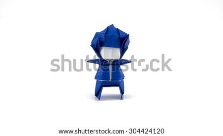 A man origami on white background - stock photo