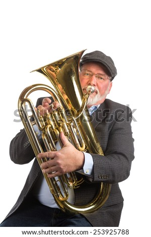 A man playing a Euphonium, or tenor tuba, isolated on a white background - stock photo