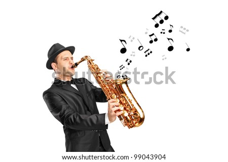 A man playing on saxophone and notes coming out isolated against background - stock photo