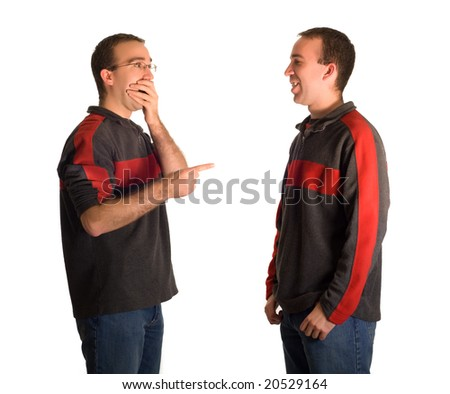 A man pointing and laughing at his identical twin, isolated against a white background