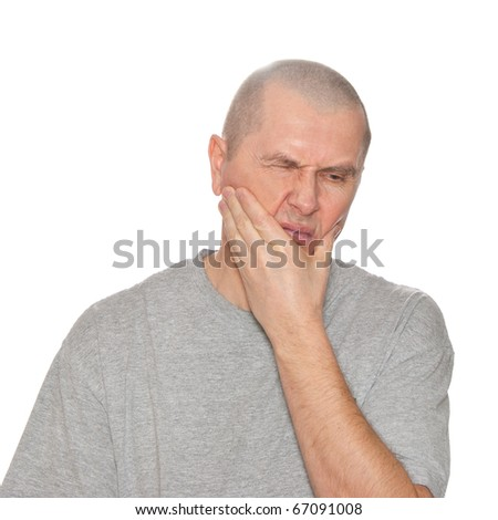a man portrait frown toothache isolated studio on white background - stock photo