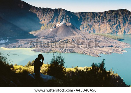 A man pray respect to Volcano, Rinjani, Indonesia