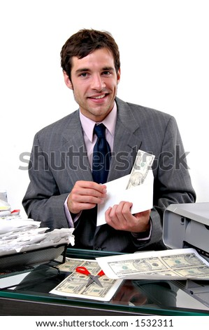 a man printing money to pay bills