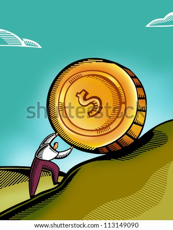 A man pushing a giant coin uphill