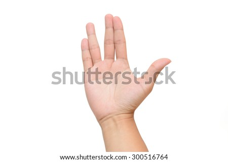 A man right hand doing the Vulcan salute on a white background.