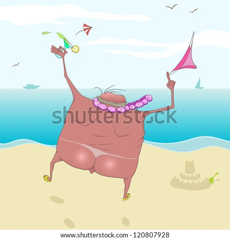 A man runs to the sea with a drink. Very happy. He took off his swimming trunks. - stock photo