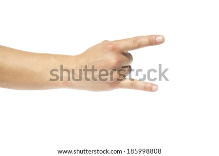 A man's hand giving the Rock and Roll sign isolated on a white background - stock photo