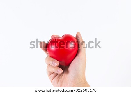 A man's hand handle with heart, love