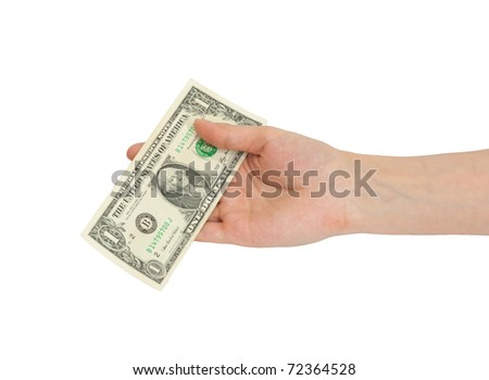 A man's hand holding a one dollar bill. - stock photo