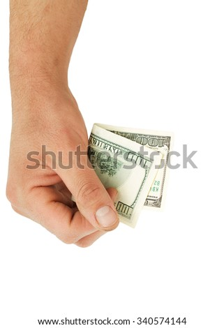 A man's hand holding a one hundred dollar bill.
