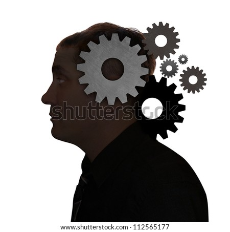 A man's head is filled with gears on a white isolated background. Use it for a education, idea or technology concept.