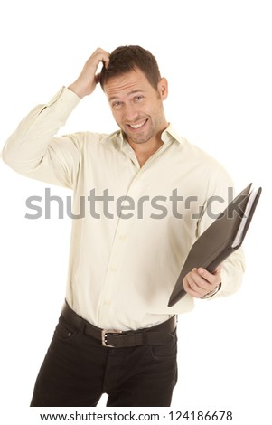 A man scratching his head with a confused expression on his face holding on to his binder.