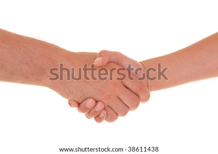 A man shakes an womans hand, for white background.