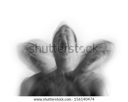 A man shaking in agony suffering from depression for the concept of mental illness.  - stock photo