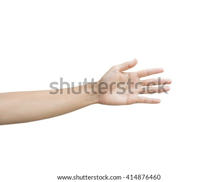 a man show left hand and palm, hand sign, hi five sign, greet sign, stop sign, hand up sign, the fifth sign, slow down sign, motion hand on isolate white background - stock photo