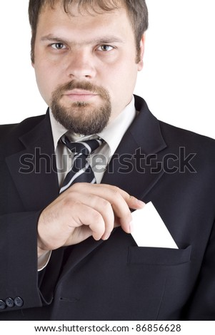 A man shows a business card, isolated on white - stock photo