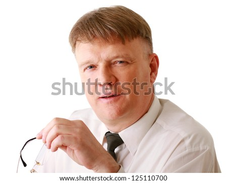 A man sitting ,isolated on white background